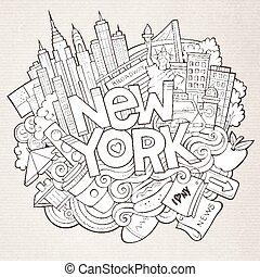 inscripción, dibujado, lindo, mano, york, doodles, nuevo, ...