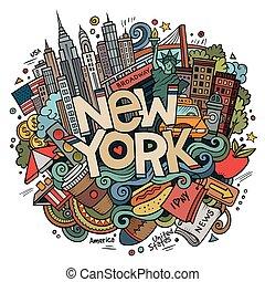 inscripción, dibujado, lindo, mano, york, doodles, nuevo,...
