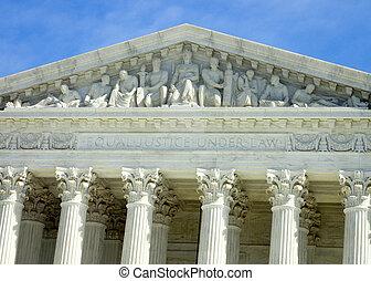 inscripción, encima, el, tribunal supremo eeuu, edificio, en, washington dc