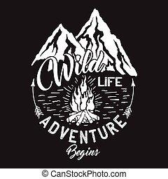 inscripción, fauna, campfire., montañas