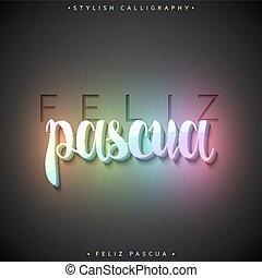 inscripción, feliz, saludo, pascua., español, pascua feliz,...