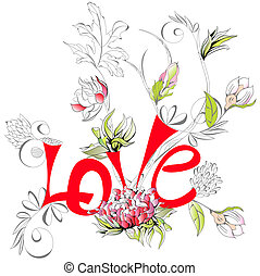 inscripción, flor, amor, peonía