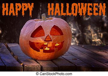 inscripción, forest., abrasador, velas, símbolo, halloween., halloween, interior., cara, grande, sobre, sonriente, calabaza, crepúsculo, feliz