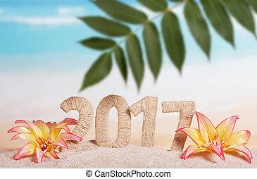 inscripción, hoja, contra, arena, 2017, palma, sea., flores