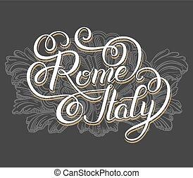 inscripción, italia, letras, mano, roma, original