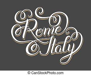 inscripción, italia, ty, letras, original, -, mano, roma,...