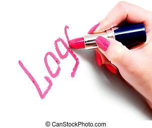inscripción, mano., lápiz labial