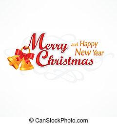 inscripción, navidad, alegre, campanas
