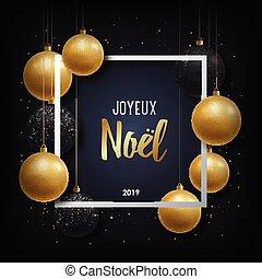 inscripción, noel, english., -, saludo, francés, joyeux, ...