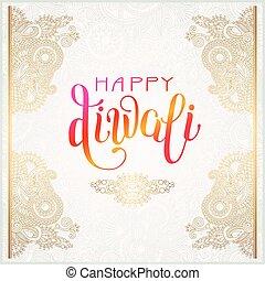 inscripción, oro, diwali, saludo, mano escrita, tarjeta, ...