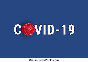 inscripción, plano de fondo, covid-19, modelo, resumen, rojo, virus, tensión, azul