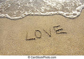 inscripción, playa, amor