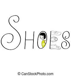 inscripción, shoes