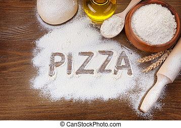 inscripción, tabla, pizza