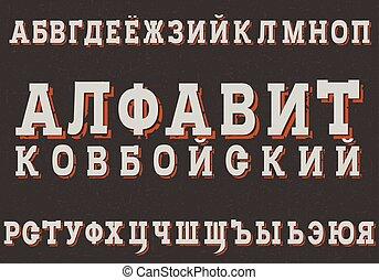 inscripción, typefase, vaquero, alfabeto, moderno, cyrillic,...