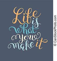 inscripción, vida, qué, letras, marca, él, mano, usted, ...