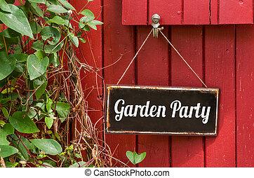 inscripción, viejo, jardín, signo metal, fiesta