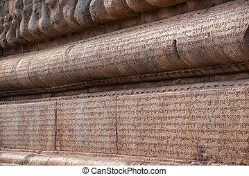inscripciones, chola, nadu, india, escritura, grantha, letters., thanjavur, tallado, templo, tamil, brihadishvara