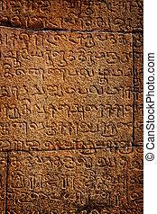 inscripciones, piedra, antiguo, pared, language., tamil