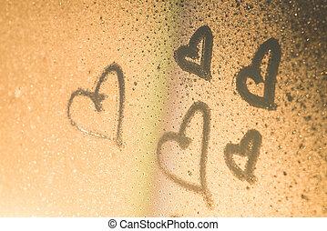 inscripted, corazones, vidrio, sudoroso