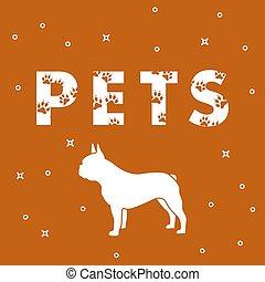 inscriptie, dog, huisdieren, traces.