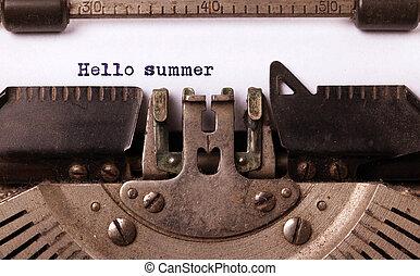 inscriptie, gemaakt, oud, typemachine, ouderwetse