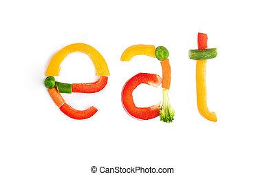 inscriptie, groentes, op, een, witte achtergrond