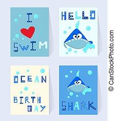 inscriptie, haai, set, liefde, komisch, feestje, blauwe , decor, kaart, karakter, poster, shower., illustratie, jarig, baby, bellen, spotprent, kaart, zwemmen, de zaal van jonge geitjes, oceaan, vector, birthday., uitnodiging
