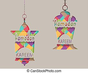 inscriptie, knippen, card., grijs, lantaarns, groet, illustratie, ramadan, achtergrond., papier, oosters, kareem, style., uit