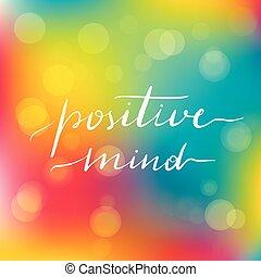 inscriptie, lettering, mind., het motiveren, positief