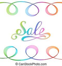 inscriptie, regenboog, verkoop, achtergrond., witte , met de hand geschreven
