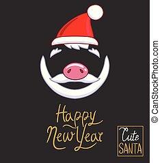 inscriptie, stijl, claus, illustratie, hand, donker, achtergrond., year., vector, ontwerp, hoedje, kerstman, nieuw, getrokken, neus, baard, piggy, mustache, vrolijke