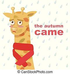 inscriptie, vector, model, bladeren, illustratie, verdrietige , herfst, giraffe, came, sjaal, achtergrond, sinaasappel, regendruppels, spotprent, rood