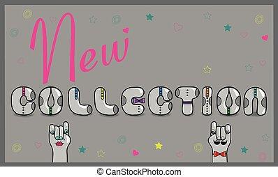 inscriptie, vector, nieuw, illustratie, collection.
