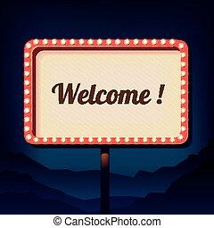 inscriptie, welcome., ouderwetse , meldingsbord, retro, buitenreclame, 3d