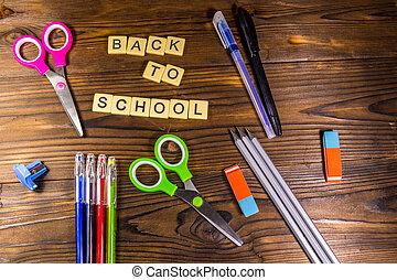inscription, école, ensemble, dos, approvisionnements papeterie
