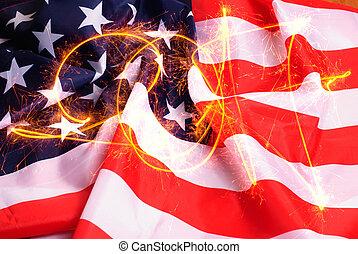 inscription, étincelles, drapeau américain, fond, 2017