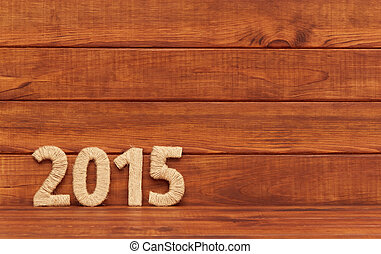 Inscription 2015 from textile. New Year. - Inscription 2014...