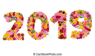 Inscription 2019 from fresh flowers isolated on white background. Happy New Year Concept. With clipping path