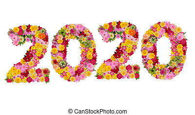 Inscription 2020 from fresh flowers isolated on white background. Happy New Year Concept. With clipping path