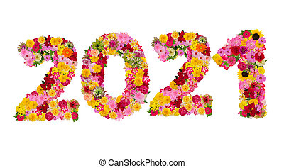 Inscription 2021 from fresh flowers isolated on white background. Happy New Year Concept. With clipping path