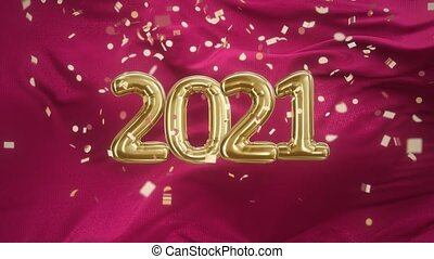Inscription 2021 from golden balloons on a Wave red satin fabric with confetti 4k