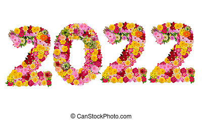 Inscription 2022 from fresh flowers isolated on white background. Happy New Year Concept. With clipping path