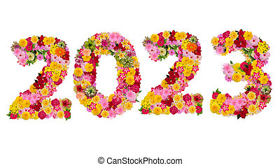 Inscription 2023 from fresh flowers isolated on white background. Happy New Year Concept. With clipping path