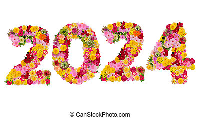 Inscription 2024 from fresh flowers isolated on white background. Happy New Year Concept. With clipping path