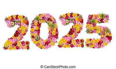 Inscription 2025 from fresh flowers isolated on white background. Happy New Year Concept. With clipping path