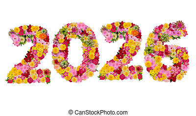 Inscription 2026 from fresh flowers isolated on white background. Happy New Year Concept. With clipping path