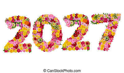 Inscription 2027 from fresh flowers isolated on white background. Happy New Year Concept. With clipping path
