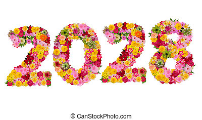 Inscription 2028 from fresh flowers isolated on white background. Happy New Year Concept. With clipping path