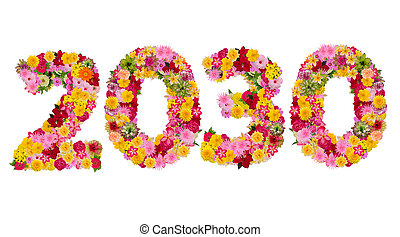 Inscription 2030 from fresh flowers isolated on white background. Happy New Year Concept. With clipping path